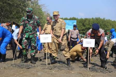 Rangkaian HUT TNI ke- 74, Gubernur Arinal Ajak Tanam Mangrove di Teluk Pandan