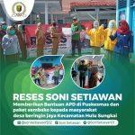 Reses Soni Setiawan Memberikan Bantuan APD di Puskesmas dan paket sembako kepada masyarakat