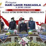 Bupati, Wabup & Pimpinan DPRD Pringsewu Ikuti Upacara Virtual Hari Lahir Pancasila