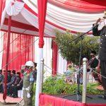 Wakapolres Pringsewu Jadi Inspektur Upacara Penurunan Bendera HUT Kemerdekaan RI ke-75