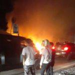 Kebakaran Di Rangai, Warung Dan Tambal Ban Ludes Terbakar